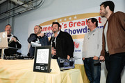 (L-R) Guest, Founder & CEO of Goldbelly, Joe Ariel, Adam Richman, Frank Luciano and Jeremy Jacobowitz attend America's Greatest Sandwich Showdown during New York City Wine & Food Festival at Highline Stages on October 13, 2019 in New York City.