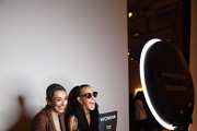 Zainab Salbi and Donna Karan pose in the Urban Zen Affirmation Booth at the American Ballet Theatre Women's Movement Hosted by Donna Karan at Urban Zen during Women's History Month on March 13, 2019 in New York City.