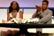Aja Naomi King and Nate Parker attends The American Black Film Festival first look at 'A Birth Of A Nation' on June 17, 2016 in Miami Beach, Florida