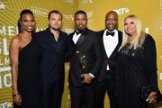 Jamie Foxx (C) poses with with the Excellence in the Arts Award backstage with Deon Cole, Leonardo DiCaprio, Jeff Friday, and Suzanne de Passe during the American Black Film Festival Honors Awards Ceremony at The Beverly Hilton Hotel on February 23, 2020 in Beverly Hills, California.