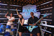 (L-R) Hannah Bronfman, Cara Santana, and Flaviana Matata stop by the American Express Experience at Austin City Limits Music Festival on October 04, 2019 in Austin, Texas.