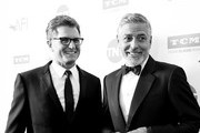 Image has been shot in black and white. Color version not available.) President of TNT and TBS and Chief Creative Officer of Turner Entertainment Kevin Reilly (L) and 46th AFI Life Achievement Award Recipient George Clooney attend the American Film Institute's 46th Life Achievement Award Gala Tribute to George Clooney at Dolby Theatre  on June 7, 2018 in Hollywood, California.  390073