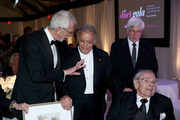 (L-R) Bruce Goldsmith, Conductor Zubin Mehta, Beverly Hills Mayor Julian Gold, and Honoree Bram Goldsmith attend the American Friends of the Israel Philharmonic Orchestra Duet Gala at the Wallis Annenberg Center for the Performing Arts on November 10, 2015 in Beverly Hills, California.