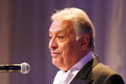 Conductor Zubin Mehta speaks onstage during the American Friends of the Israel Philharmonic Orchestra Duet Gala at the Wallis Annenberg Center for the Performing Arts on November 10, 2015 in Beverly Hills, California.