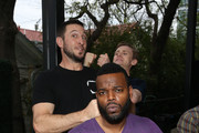 Bruce Langley, Pablo Schreiber and Demore Barnes attend American Gods & Now Apocalypse Live Viewing Party At #TwitterHouse at Lustre Pearl on March 10, 2019 in Austin, Texas.