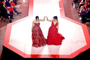 Brie Bella and Nikki Bella walk the runway for The American Heart Association's Go Red For Women Red Dress Collection 2019 Presented By Macy's at Hammerstein Ballroom on February 7, 2019 in New York City.