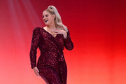 Meghan Trainor performs on the runway at The American Heart Association's Go Red For Women Red Dress Collection 2020 at Hammerstein Ballroom on February 05, 2020 in New York City.