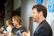 (L-R) Jennifer Lopez, Keith Urban and Harry Connick, Jr. are interviewed by press as they arrive at the Ernest N. Morial Convention Center on August 27, 2014 in New Orleans, Louisiana.