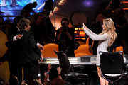 """(L-R) American Idol Judges Harry Connick, Jr., Keith Urban, and Jennifer Lopez onstage during Fox's """"American Idol"""" XIII Finale at Nokia Theatre L.A. Live on May 21, 2014 in Los Angeles, California."""