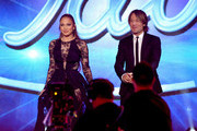 """American Idol judges Jennifer Lopez (L) and Keith Urban onstage during """"American Idol"""" XIV Grand Finale at Dolby Theatre on May 13, 2015 in Hollywood, California."""