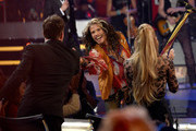 "Judge Harry Connick Jr., singer/songwriter Steven Tyler, and judge Jennifer Lopez onstage during ""American Idol"" XIV Grand Finale at Dolby Theatre on May 13, 2015 in Hollywood, California."