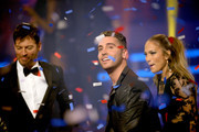"(L-R) American Idol judge Harry Connick Jr., winner Nick Fradiani, and American Idol judge Jennifer Lopez onstage during ""American Idol"" XIV Grand Finale at Dolby Theatre on May 13, 2015 in Hollywood, California."