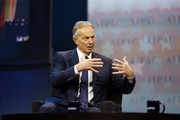 Former British Prime Minister Tony Blair speaks during a the American Israel Public Affairs Committee (AIPAC) Policy Conference in Washington, on March 26, 2017.  / AFP PHOTO / Andrew Biraj
