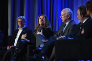 President and CEO of Forbes Media LLC Michael Perlis, President of Dwell Media Michela O'Connor Abrams, New York Magazine Publisher Larry Burstein, Paul Rossi President of Global Media Business at The Economist Group and Managing Editor and News Anchor for Bloomberg Television Stephanie Ruhle speak onstage at the American Magazine Media Conference at Grand Hyatt New York on February 1, 2016 in New York City.