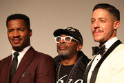 "Director Nate Parker, Spike Lee and Theo Rossi walk the red carpet ahead of the ""American Skin"" screening during the 76th Venice Film Festival at Sala Giardino on September 01, 2019 in Venice, Italy."