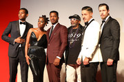 "(L-R) Shane Paul McGhie, Miluana Jackson, Nate Parker, Spike Lee, Theo Rossi and Beau Knapp walk the red carpet ahead of the ""American Skin"" screening during the 76th Venice Film Festival at Sala Giardino on September 01, 2019 in Venice, Italy."