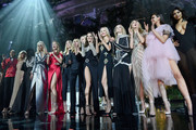 Marjan Jonkman, Eniko Mihalik, Daphne Groeneveld, Dewi Driegen, Karolina Kurkova, Alessandra Ambrosio, Natasha Poly, Hannah Ferguson, Georgia Fowler on stage at the amfAR Gala Cannes 2018 at Hotel du Cap-Eden-Roc on May 17, 2018 in Cap d'Antibes, France.