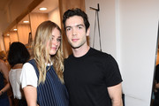 Elizabeth Gilpin (L) and actor Ethan Peck attend the Amour Vert x Swith Boutique celebration at Switch Boutique on March 26, 2015 in Beverly Hills, California.