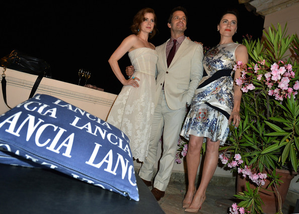 Celebrities At The Lancia Cafe - Day 1 - Taormina Filmfest 2013 [clothing,dress,fashion,beauty,shoulder,lady,formal wear,event,fun,joint,taormina filmfest,lancia cafe,taormina,italy,celebrities,zack snyder,antje traue,amy adams]