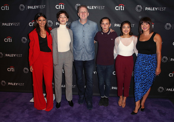 The Paley Center For Media's 2018 PaleyFest Fall TV Previews - Netflix - Arrivals [paleyfest fall tv previews,red,premiere,event,fashion,red carpet,flooring,fashion design,carpet,dress,performance,arrivals,amy okuda,keir gilchrist,mary rohlich,robia rashid,brigette lundy-paine,l-r,netflix,paley center for media]