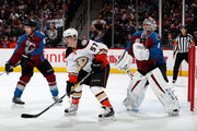 David Perron #57 of the Anaheim Ducks looks for the puck as Erik Johnson #6 and Semyon Varlamov #1 of the Colorado Avalanche defend the goal at Pepsi Center on March 9, 2016 in Denver, Colorado. The Avalanche defeated the Ducks 3-0.