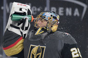 Marc-Andre Fleury #29 of the Vegas Golden Knights takes a break during a stop in play in the first period of a game against the Anaheim Ducks at T-Mobile Arena on October 20, 2018 in Las Vegas, Nevada.