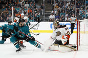 John Gibson #36 of the Anaheim Ducks makes a save on a shot by Tomas Hertl #48 of the San Jose Sharks at SAP Center on October 3, 2018 in San Jose, California.