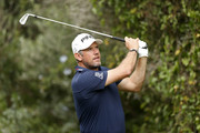 Lee Westwood of England hits their tee shot on the third hole during the third round on day four of Andalucia Valderrama Masters at Real Club Valderrama on October 21, 2018 in Cadiz, Spain. The event has been shorted to a 54 hole tournament due to bad weather.