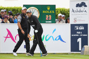 Sergio Garcia of Spain and Lee Westwood of England are pictured on the first tee during the completion of the weather affected second round of the Andalucia Valderrama Masters at Real Club Valderrama on October 20, 2018 in Cadiz, Spain.