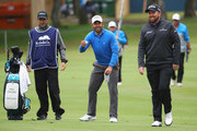 Pablo Larrazabal of Spain jokes with Shane Lowry of Ireland on the first hole during the completion of the weather affected second round of the Andalucia Valderrama Masters at Real Club Valderrama on October 20, 2018 in Cadiz, Spain.