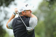 Lee Westwood of England tees off on the third hole during the completion of the weather affected second round of the Andalucia Valderrama Masters at Real Club Valderrama on October 20, 2018 in Cadiz, Spain.