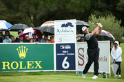 Lee Westwood of England plays his tee shot on the 6th hole during the completion of the weather affected second round of the Andalucia Valderrama Masters at Real Club Valderrama on October 20, 2018 in Cadiz, Spain.