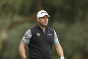 Lee Westwood of England looks on after playing his 2nd shot on the 4th hole during the completion of the weather affected second round of the Andalucia Valderrama Masters at Real Club Valderrama on October 20, 2018 in Cadiz, Spain.