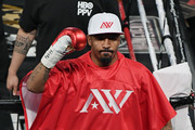 Andre Ward gestures to the crowd as he enters the ring for his light heavyweight championship bout against Sergey Kovalev at the Mandalay Bay Events Center on June 17, 2017 in Las Vegas, Nevada. Ward retained his WBA/IBF/WBO titles with a TKO in the eighth round.