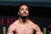 WBA/IBF/WBO light heavyweight champion Andre Ward poses on the scale during his official weigh-in at the Mandalay Bay Events Center on June 16, 2017 in Las Vegas, Nevada. Ward will defend his titles when he fights a rematch with Sergey Kovalev on June 17 in Las Vegas.