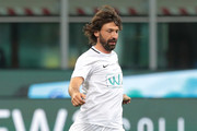 Andrea Pirlo in action during Andrea Pirlo Farewell Match at Stadio Giuseppe Meazza on May 21, 2018 in Milan, Italy.