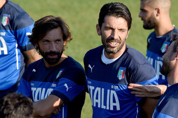 Andrea Pirlo Gianluigi Buffon Italy Training Session And Press Conference