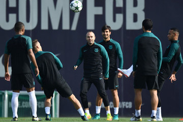 Andres Iniesta FC Barcelona Training Session and Press Conference