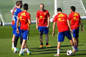 Andres Iniesta Spain Training Session and Press Conference