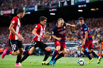 Andres Iniesta Oscar de Marcos Barcelona v Athletic Club - Spanish Super Cup: Second Leg