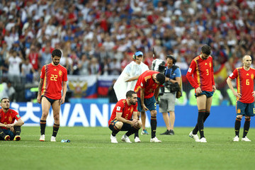 Andres Iniesta Sergio Busquets Spain vs. Russia: Round of 16 - 2018 FIFA World Cup Russia