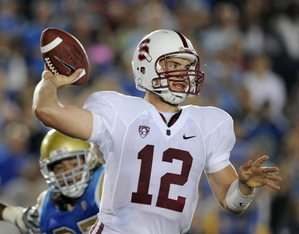 Andrew Luck Andrew Luck #12 of Stanford passes in the pocket against UCLA during the first quarter at Rose Bowl on September 11, 2010 in Pasadena, California.