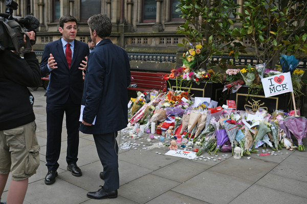Floral Tributes Are Left for the Victims of the Manchester Arena Terrorist Attack