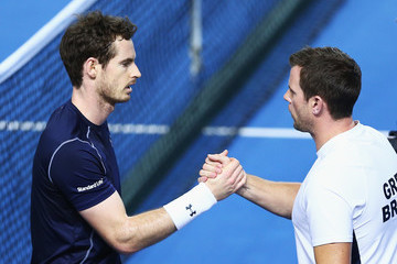 Andy Murray Leon Smith Great Britain v Japan - Davis Cup: Day One
