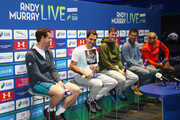 Andy Murray, Roger Federer, Jamie Murray, Tim Henman and Mansour Bahrami speak in a press conference during Andy Murray Live at The Hydro on November 7, 2017 in Glasgow, Scotland.
