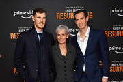 """Jamie Murray, Judy Murray and.Andy Murray attend the """"Andy Murray: Resurfacing"""" world premiere at the Curzon Bloomsbury on November 25, 2019 in London, England."""
