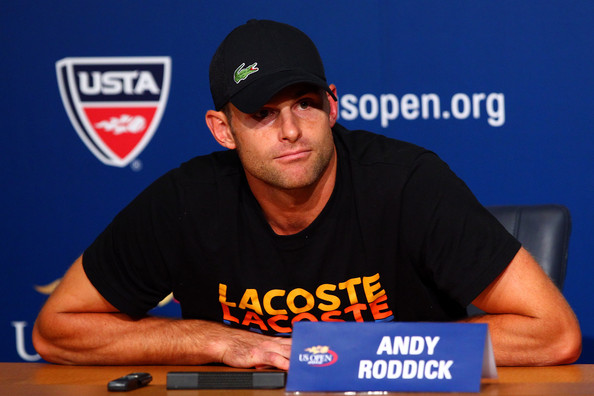 2012 US Open - Day 4 [arm,sports uniform,facial hair,muscle,cap,games,t-shirt,andy roddick,media,united states,neighborhood,borough,flushing,new york city,2012 us open,retirement,press conference]
