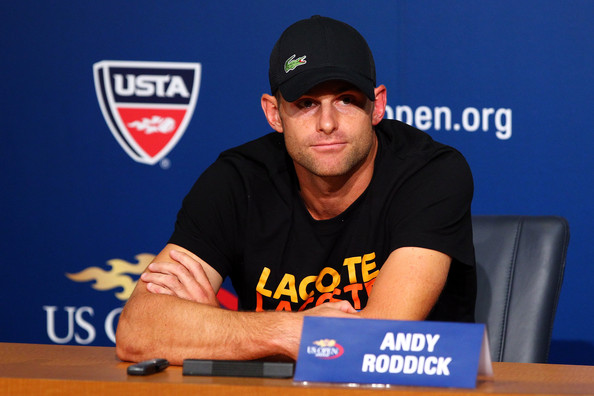 2012 US Open - Day 4 [arm,games,muscle,finger,player,recreation,news conference,sports uniform,facial hair,cap,andy roddick,media,united states,neighborhood,borough,flushing,new york city,2012 us open,retirement,press conference]