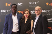 (L-R) Actor Makita Samba, actress Larisa Faber and director Markus Schleinzer  attend the 'Angelo' photocall during the 66th San Sebastian International Film Festival on September 25, 2018 in San Sebastian, Spain.