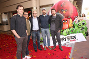 """(L-R) Actor Bill Hader, actor Josh Gad, producer John Cohen actor Jason Sudeikis and actor Danny McBride attend a photo call and Q&A session for a """"Sneak Beak"""" of Columbia Pictures and Rovio Animations' ANGRY BIRDS at Sony Pictures Studios on February 23, 2016 in Culver City, California."""